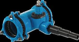 Combi-T mit SYNOFLEX-Muffe Abgang PE-Anschweissende universal DN 100 PE d 63-50-40 mm